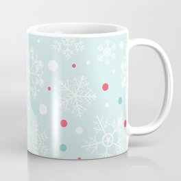 Christmas Snowflakes with Red and Blue Polka Dots Pattern Coffee Mug