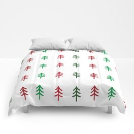 Hand drawn forest green and red trees for Christmas time Comforters