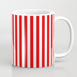 Original Berry Red and White Rustic Vertical Tent Stripes Coffee Mug