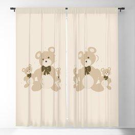 Teddy Bears Triplet - Beige Blackout Curtain