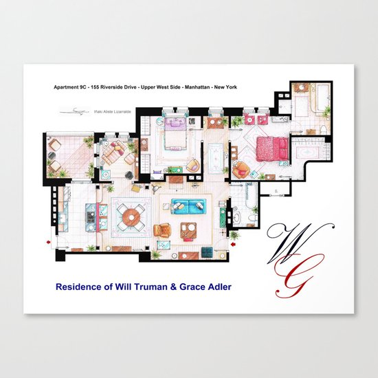 Apartment of Will Truman and Grace Adler - Floorplan Canvas Print