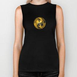 Yellow and Black Yin Yang Dragons Biker Tank