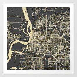Memphis map yellow Art Print