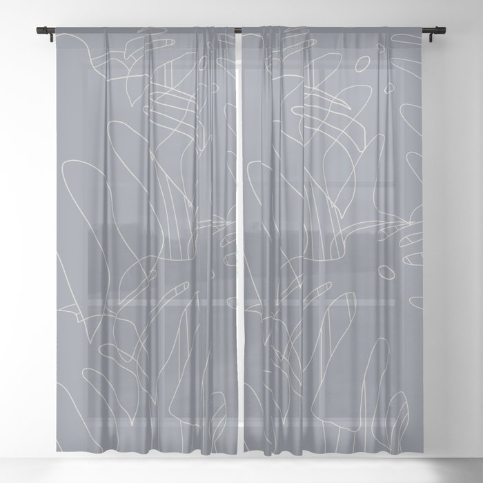 Monstera No2 Gray Edition Sheer Curtain