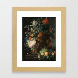 Jan van Huysum - Still Life with Flowers and Fruit Framed Art Print