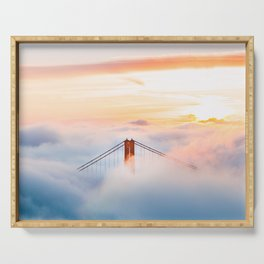 Golden Gate Bridge at Sunrise from Hawk Hill - San Francisco, California Serving Tray