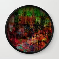 brussels Wall Clocks featuring Quartier des Marolles ( Brussels ) by Ganech joe