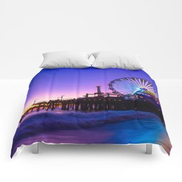 Santa Monica purple sunset Comforters