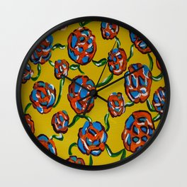 Rainbow flowers yellow Wall Clock