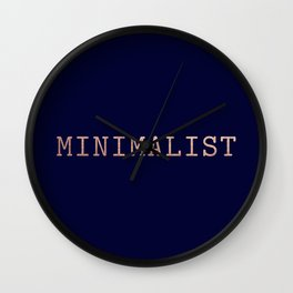 Dark Navy Blue and Copper Minimalist Typewriter Font Wall Clock