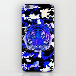 camouflage tiger on blue iPhone Skin