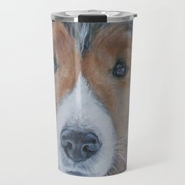 SHELTIE Shetland Sheepdog art portrait from an original painting by L.A.Shepard Travel Mug