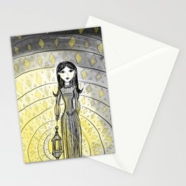 """""""Spooky Girl with a Lantern"""" - Decorative Drawing by Myles Katherine Stationery Cards"""