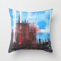 cityscape Throw Pillows featuring Cityscape by Alfred Raggatt