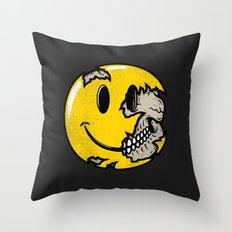Smiley face skull Throw Pillow