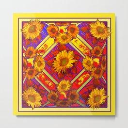 Decorative Red-Purple  Pattern Yellow Sunflowers Art Metal Print
