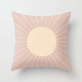 Minimal Sunrays - Neutral Pink Throw Pillow