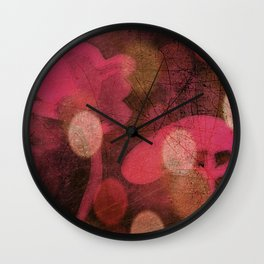 Monoprint Series Pink 1 Wall Clock