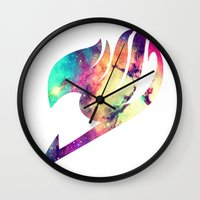 fairy tail Wall Clocks featuring Galaxy Fairy Tail Logo by ZipZapAttack