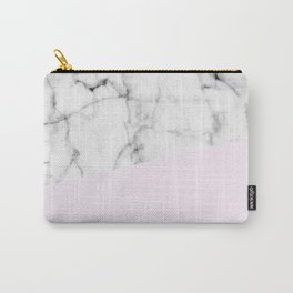Real White Marble Half Baby Pink Modern Abstract Shapes Carry-All Pouch
