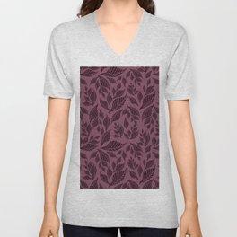 Pastel violet pink black geometrical leaves pattern Unisex V-Neck