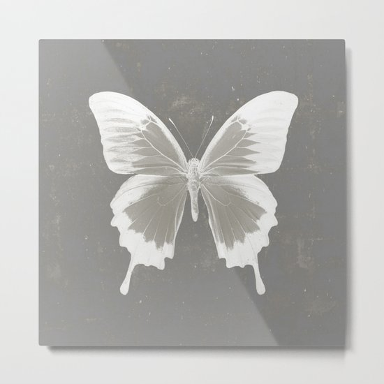 Butterfly on grunge surface Metal Print