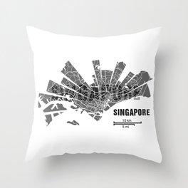Singapore Map Throw Pillow