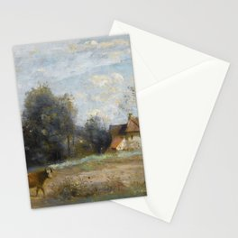 """Jean-Baptiste-Camille Corot """"Luzancy, small peasant houses by the water"""" Stationery Cards"""
