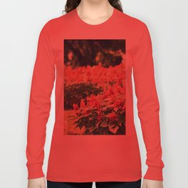 In red Long Sleeve T-shirt