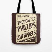 gta Tote Bags featuring GTA Trevor Phillips Enterprises by Spyck