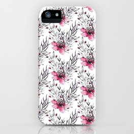 Watercolor neon pink gray hand painted floral pattern iPhone Case