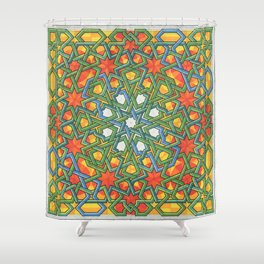 8-Fold Alhambra Pattern Shower Curtain