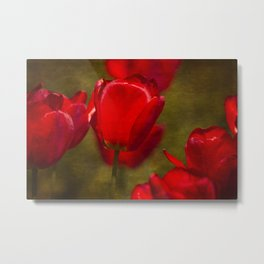 Springing Up Tulips Metal Print