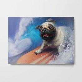 Surfing Pug Dog Metal Print