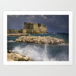 Napoli. Waves on the rocks. Art Print