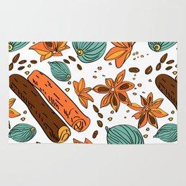 Spices. Pattern. Cinnamon, cardamom, nutmеgб coffee bean. Rug