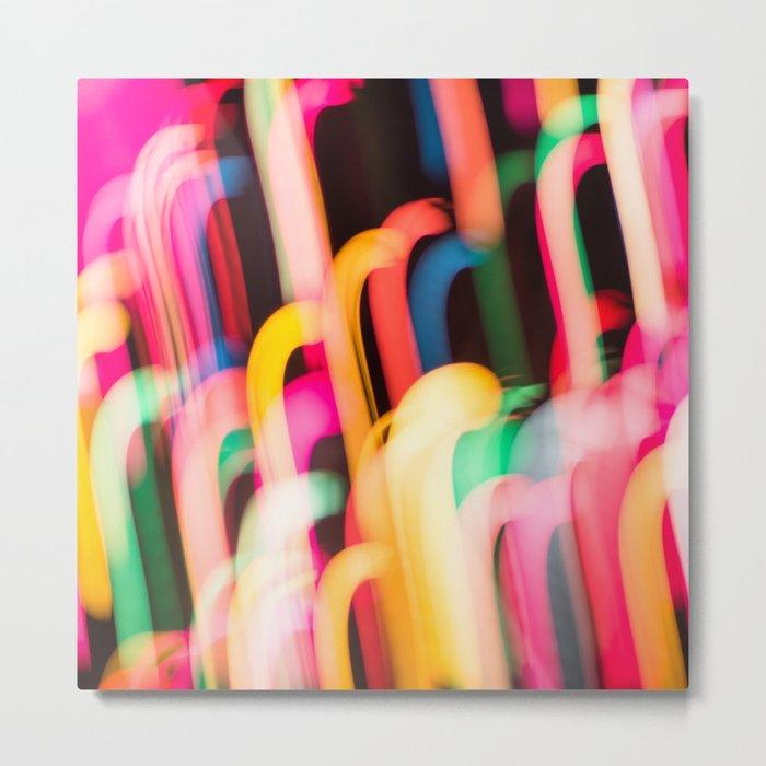 Neon Worms Metal Print