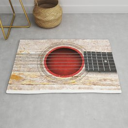 Old Vintage Acoustic Guitar with Japanese Flag Rug