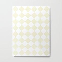 Large Diamonds - White and Beige Metal Print