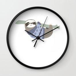 Hanging Sloth Snowflakes Christmas Sweater Gift Wall Clock