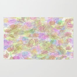 Soft Pastel Mixed Floral Abstract Rug