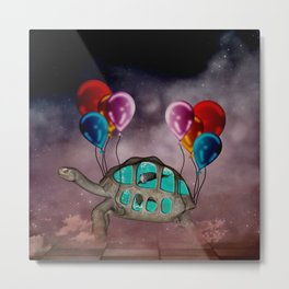 The wonderful funny turtle with dolphins Metal Print