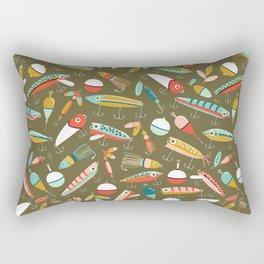 Fishing Lures Green Rectangular Pillow