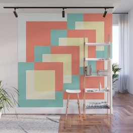 Squares Burnt Umber + Mint Wall Mural