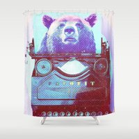 writer Shower Curtains featuring Grizzly writer by RedGoat