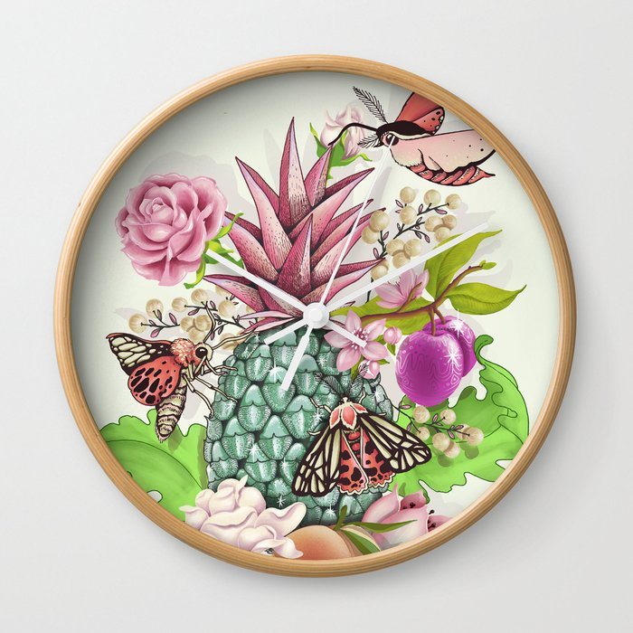 Glam Tropical - silver version Wall Clock
