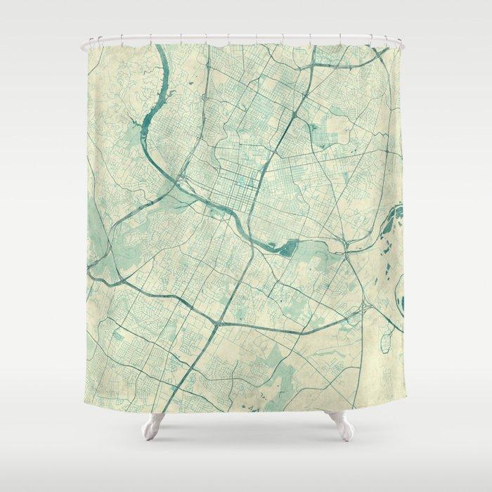 Austin Map Blue Vintage Shower Curtain by hubertroguski   Society6