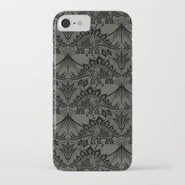 Stegosaurus Lace - Black / Grey iPhone Case