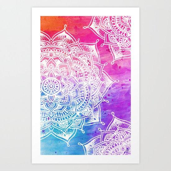 White Mandala on Watercolour Art Print