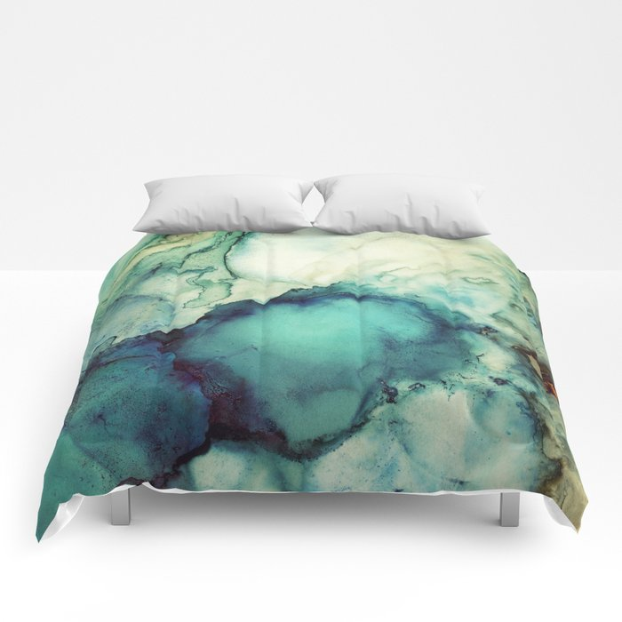 Teal Abstract Comforters